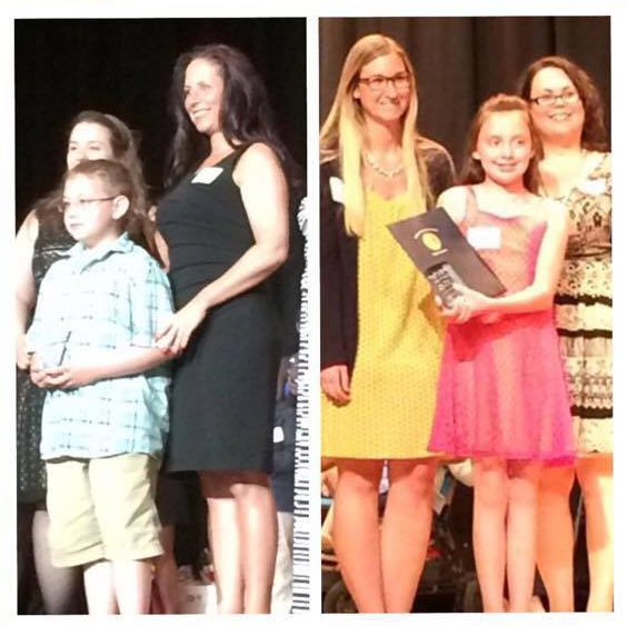Ryan (left) Arianna (right) receiving their awards with their nominators.